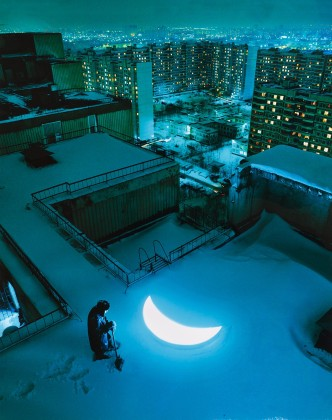 "Leonid Tishkov Every morning he buries the moon, 2003/2005. From the series ""Private moon"" From the series ""Private moon"" C-Print on photo paper"